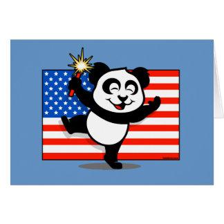 Patriotic Panda With American Flag Greeting Cards