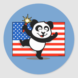 Patriotic Panda With American Flag Classic Round Sticker