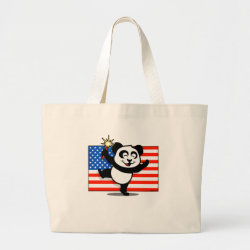 Jumbo Tote Bag with Patriotic American Panda design