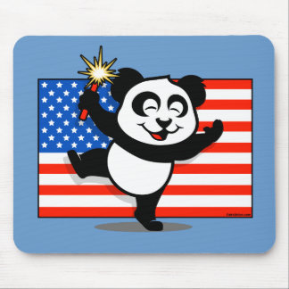 Patriotic Panda With American Flag Mouse Pad