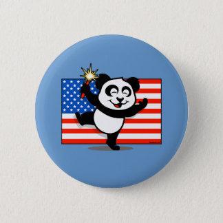 Patriotic Panda With American Flag Pinback Button