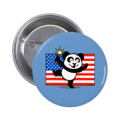 Round Button with Patriotic American Panda design