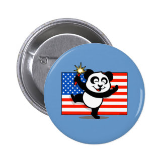 Patriotic Panda With American Flag Pinback Button