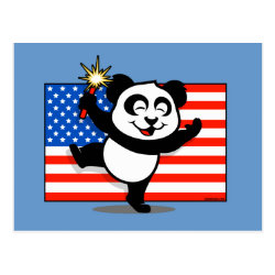 Postcard with Patriotic American Panda design