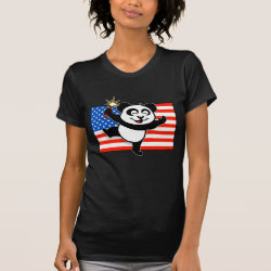 Women's American Apparel Fine Jersey Short Sleeve T-Shirt with Patriotic American Panda design