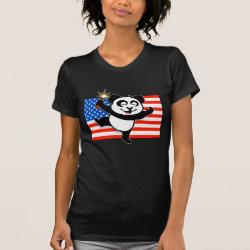 Women's American Apparel Fine Jersey Short Sleeve T-Shirt with Patriotic American Panda design
