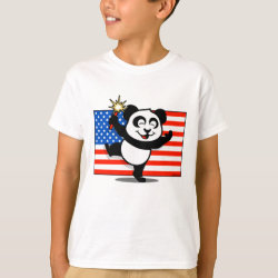 Kids' Hanes TAGLESS® T-Shirt with Patriotic American Panda design