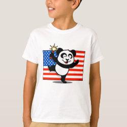 Kids' Hanes TAGLESS® T-Shirt with Patriotic American Panda design