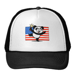 Trucker Hat with Patriotic American Panda design