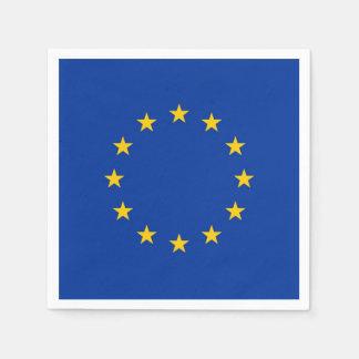 Patriotic paper napkins with European Union flag