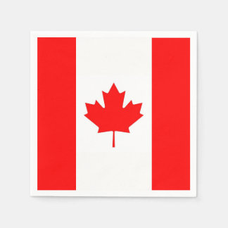 Patriotic paper napkins with flag of Canada