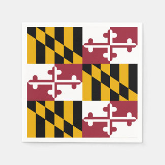 Patriotic paper napkins with flag of Maryland