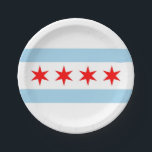 "Patriotic paper plate with flag of Chicago<br><div class=""desc"">Patriotic paper plate with flag of Chicago City,  Illinois State,  USA. Cheap and useful paper plates,  perfect for special occasions when you can use them in set with paper cups and paper napkins.</div>"