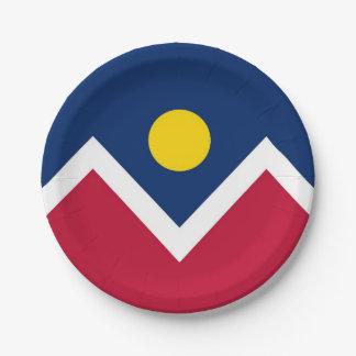 Patriotic paper plate with flag of Denver