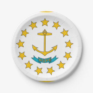 Patriotic paper plate with Rhode Island flag