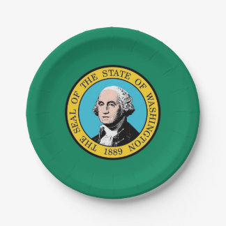 Patriotic paper plate with Washington State flag