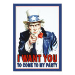"Patriotic Party Invitation: Vintage Uncle Sam 5"" X 7"" Invitation Card"