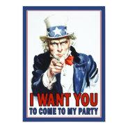 Patriotic Party Invitation: Vintage Uncle Sam 5x7 Paper Invitation Card at Zazzle