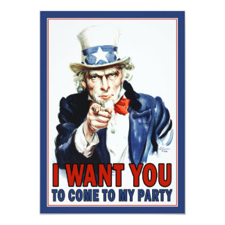 Patriotic Party Invitation: Vintage Uncle Sam 5x7 Paper Invitation Card