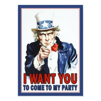 Patriotic Party Invitation: Vintage Uncle Sam Card