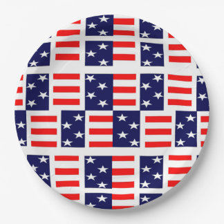 Patriotic Patchwork Veterans Day Party Paper Plate