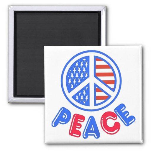 Patriotic Peace 2 Inch Square Magnet