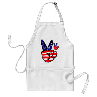 Patriotic Peace Fingers In USA Flag American Adult Apron