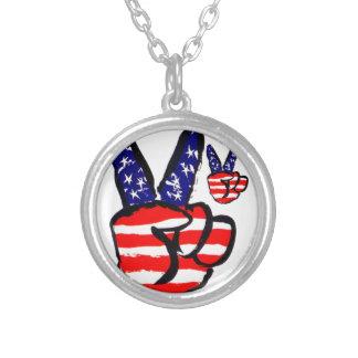 Patriotic Peace Fingers In USA Flag American Pendant