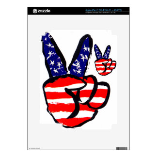 Patriotic Peace Fingers In USA Flag American Skins For iPad 3