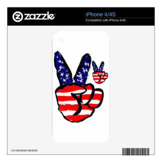 Patriotic Peace Fingers In USA Flag American Skin For The iPhone 4