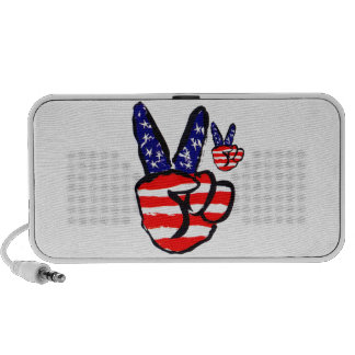 Patriotic Peace Fingers In USA Flag American Notebook Speakers