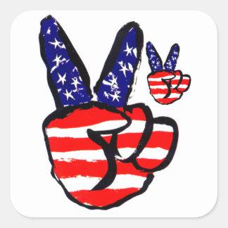 Patriotic Peace Fingers In USA Flag American Square Sticker