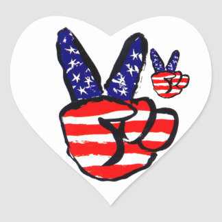 Patriotic Peace Fingers In USA Flag American Sticker