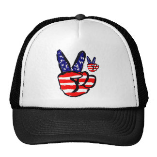 Patriotic Peace Fingers In USA Flag American Trucker Hat