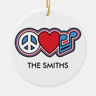Patriotic Peace Love Music Ceramic Ornament