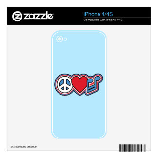 Patriotic Peace Love Music iPhone 4 Skin