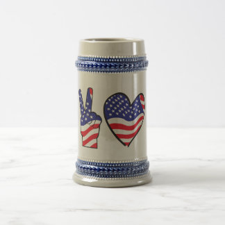 Patriotic Peace Sign and Heart Beer Stein