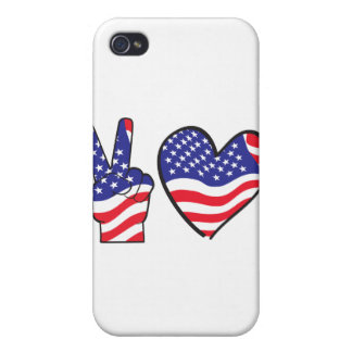 Patriotic Peace Sign and Heart Case For iPhone 4