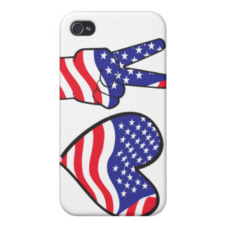 Patriotic Peace Sign and Heart in Flags Cover For iPhone 4