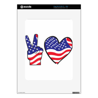 Patriotic Peace Sign and Heart in Flags iPad Skin