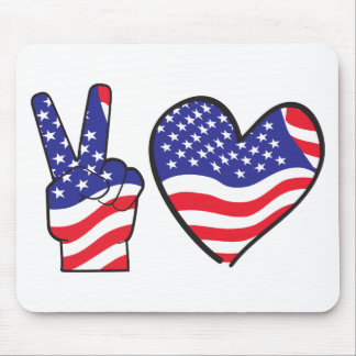 Patriotic Peace Sign and Heart in Flags Mouse Pad