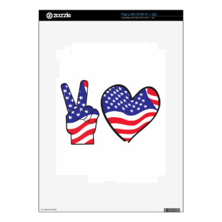 Patriotic Peace Sign and Heart in Flags Skin For iPad 2