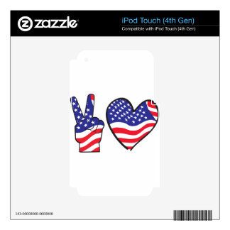 Patriotic Peace Sign and Heart iPod Touch 4G Decal