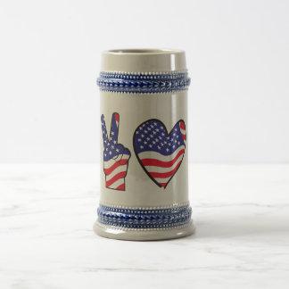 Patriotic Peace Sign and Heart Coffee Mug