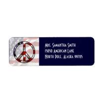 Patriotic Peace Sign Flag Address Label