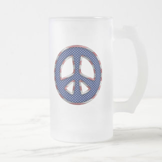 PATRIOTIC PEACE SIGN FROSTED GLASS BEER MUG