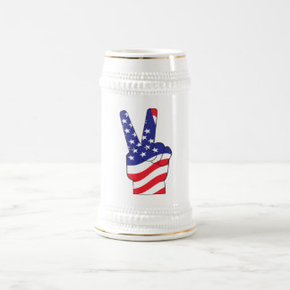 Patriotic Peace Sign USA Beer Stein