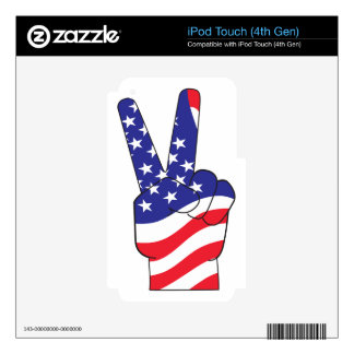 Patriotic Peace Sign USA Decals For iPod Touch 4G