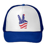 Patriotic Peace Sign USA Mesh Hats