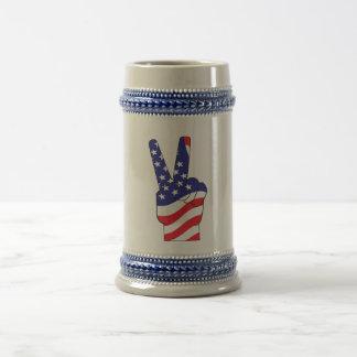 Patriotic Peace Sign USA Coffee Mug